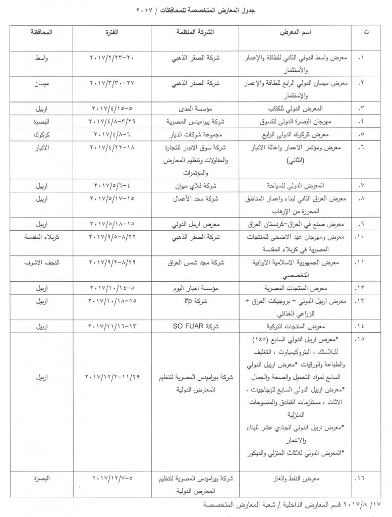 جدول المعارض المتخصصة للمحافظات 2017